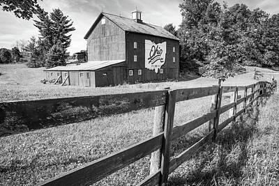 Photograph - Ohio Bicentennial Barn In Monochrome 1803 - 2003 by Gregory Ballos