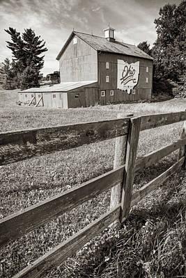 Photograph - Ohio Bicentennial Barn Landscape - Sepia Print by Gregory Ballos