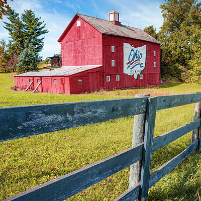 Photograph - Ohio Bicentennial Red Barn And Fence - Square Format by Gregory Ballos