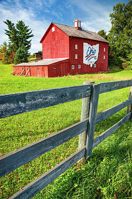 Photograph - Ohio Bicentennial Red Barn Landscape - Columbus - Westerville Ohio by Gregory Ballos