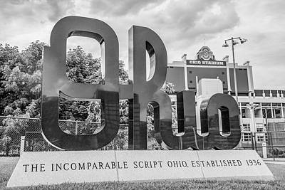 Photograph - Ohio State University Black And White Sihn 2 by John McGraw