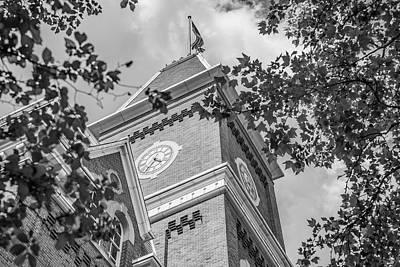 Photograph - Ohio State University Black And White University Hall Clock  by John McGraw