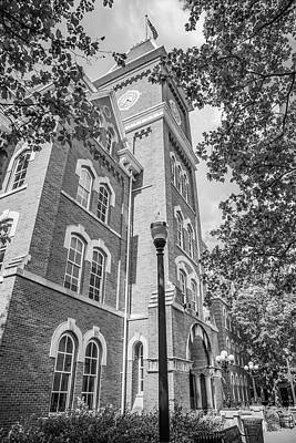Photograph - Ohio State University Black And White University Hall  With Trees   by John McGraw