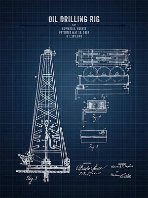 Travel Rights Managed Images - Oil Drilling Rig - Dark Blue Blueprint Royalty-Free Image by Aged Pixel