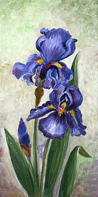 Digital Art - Oil Painted Canvas With Blue Iris by Mitza