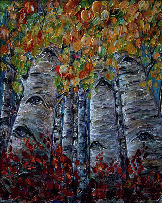 Oil Painting With Palette Knife Original Aspen Trees By Olena Art Original