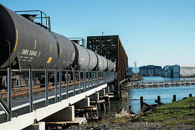 Photograph - Oil Train Over Swinomish Channel by Tom Cochran