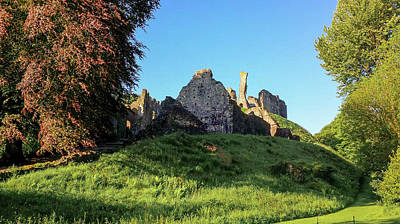 Photograph - Okehampton Castle In Early Morning Spring Sunshine by Richard Brookes