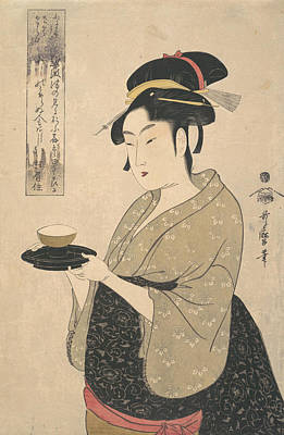 Relief - Okita Of The Naniwa-ya Tea-house by Kitagawa Utamaro