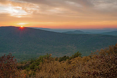 Photograph - Oklahoma Ouachita Mountain Landscape Sunset - Talimena Scenic Byway by Gregory Ballos