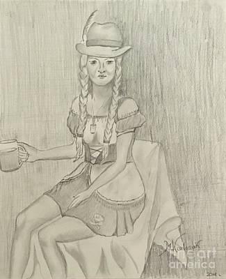 Beer Drawings Royalty Free Images - Oktoberfest girl  Royalty-Free Image by Maria Karlosak