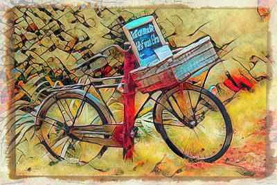 Photograph - Old Antique Bicycle Pop Art by Debra and Dave Vanderlaan