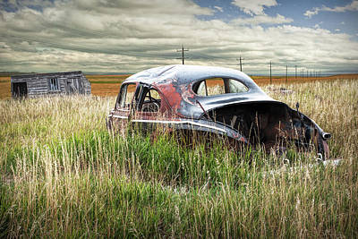 Photograph - Old Auto Abandoned In A Field  by Randall Nyhof