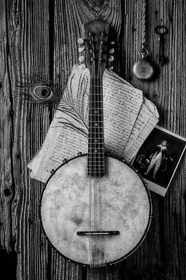 Photograph - Old Banjo And Letters Black And White by Garry Gay