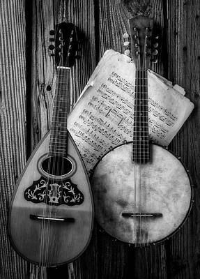 Photograph - Old Banjo And Mandolin Black And White by Garry Gay