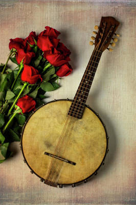 Photograph - Old Banjo And Roses by Garry Gay