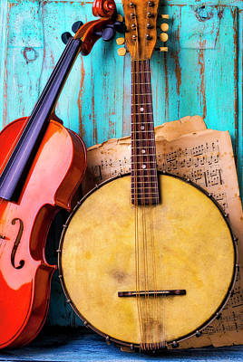 Photograph - Old Banjo And Violin by Garry Gay