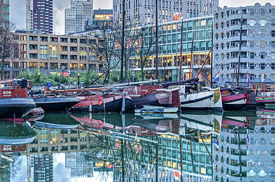 Photograph - Old Barges And Modern Architecture by Frans Blok