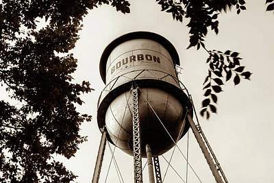 Photograph - Old Bourbon Whiskey Water Tower - Sepia Edition by Gregory Ballos