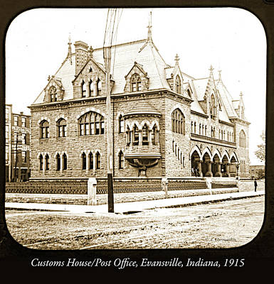 Photograph - Old Customs House And Post Office, Evansville, Indiana, 1915 by A Gurmankin
