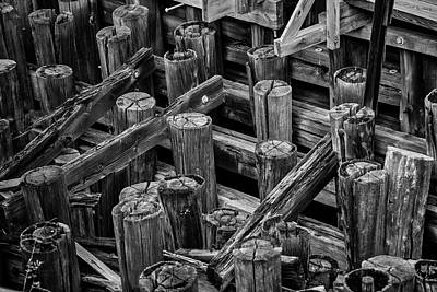 Photograph - Old Dock Pilings In Black And White by Garry Gay