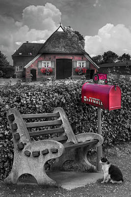 Photograph - Old Dutch Cottage Black And White With Red Color Selected by Debra and Dave Vanderlaan