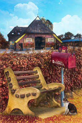 Photograph - Old Dutch Cottage In Autumn Painting by Debra and Dave Vanderlaan