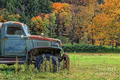 Photograph - Old Farm Truck Autumn Fall Foliage Vermont by Edward Fielding