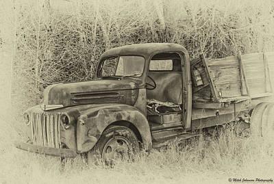 Typographic World - Old Farm Truck  BW AP by Mitch Johanson
