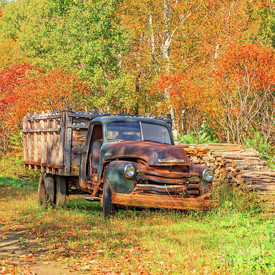Photograph - Old Farm Truck Fall Foliage Vermont Square by Edward Fielding