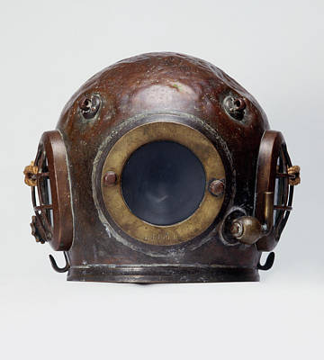 Sports Photograph - Old-fashioned, Deep Sea Divers Helmet by Ray Moller