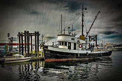 Day Of The Dead Inspired Paintings - Old Fishing Trawler in Rain by Darryl Brooks