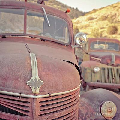 Photograph - Old Friends Two Rusty Vintage Cars Jerome Arizona by Edward Fielding