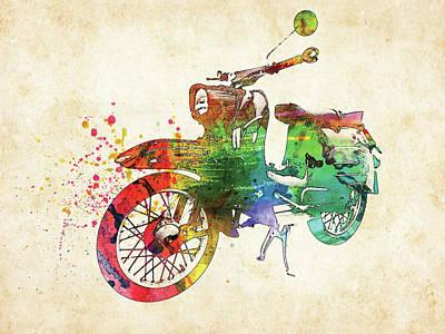 Transportation Digital Art - Old German bike colorful watercolor by Mihaela Pater