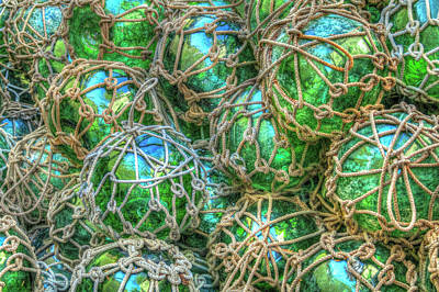 Photograph - Old Glass Buoys by Debra and Dave Vanderlaan