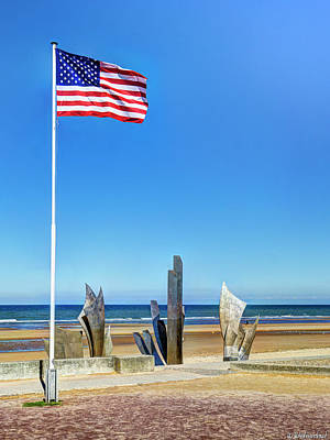 Photograph - Old Glory And Les Braves Omaha Beach - Narrow Version by Weston Westmoreland