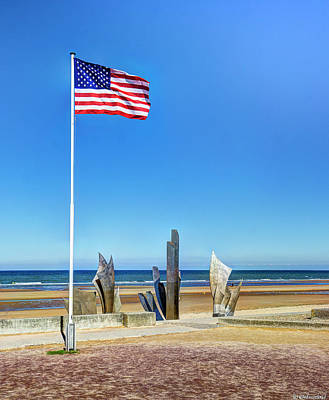 Photograph - Old Glory And Les Braves Omaha Beach - Wide Version by Weston Westmoreland