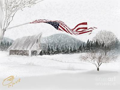 Digital Art - Old Glory In The Snow by Joel Deutsch