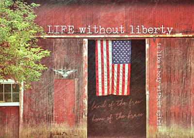 Photograph - Old Glory Quote by JAMART Photography