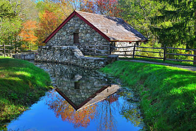 Photograph - Old Grist Mill Autumn Reflection by Luke Moore