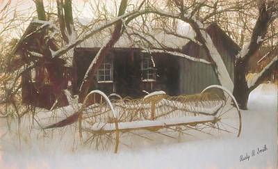 Digital Art - Old Hay Rake Setting In The New England Winter. by Rusty R Smith