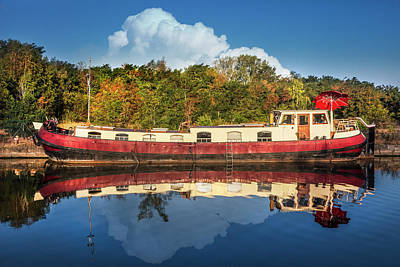 Photograph - Old Houseboat On The Canal by Debra and Dave Vanderlaan