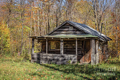 Tiny House Wall Art - Photograph - Old Hunting Shack In The Woods by Edward Fielding