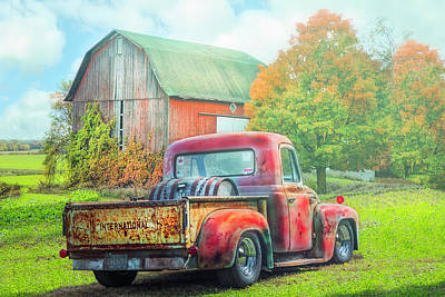 Photograph - Old International Pickup Truck On A Misty Morning by Debra and Dave Vanderlaan