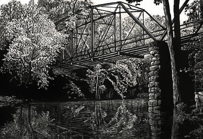 Drawing - Old Iron Bridge by William Underwood