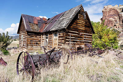 Photograph - Old Log Cabin And Hay Rake by Kathleen Bishop