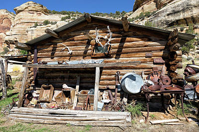 Photograph - Old Log Cabin With Cool Vintage Artifacts  by Kathleen Bishop
