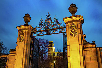 Photograph - Old Main And Centennial Gate - University Of Arkansas by Gregory Ballos