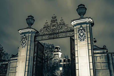 Photograph - Old Main And Centennial Gate - University Of Arkansas In Sepia by Gregory Ballos