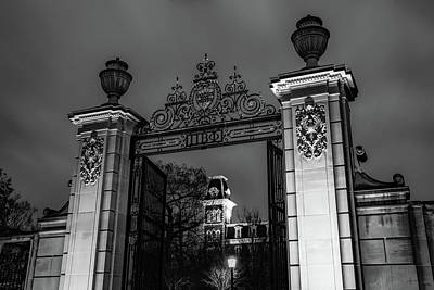 Photograph - Old Main And Centennial Gate - University Of Arkansas Monochrome by Gregory Ballos